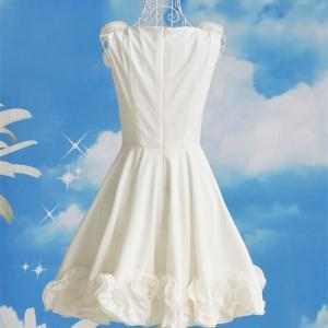 White Flowers Sleeveless Dress 0508..