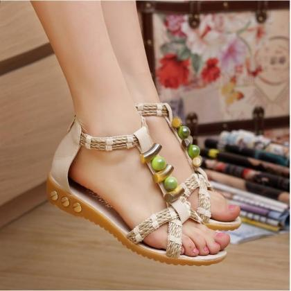 Handmade Colorful Beads Flat Sandal..