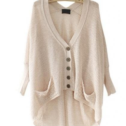 Solid Color High-Low Cardigan