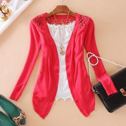 Women Long Sleeve Lace Knitting Hol..