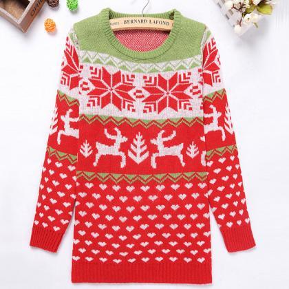 Cute Animal Reindeer Snowflake Roun..