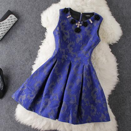 Flowers Blue Embroidered Dress Aw10..