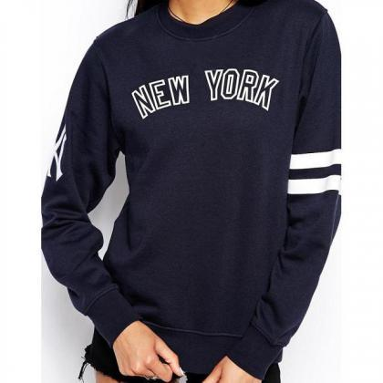 Hot Letter Print Pullover Long Slee..