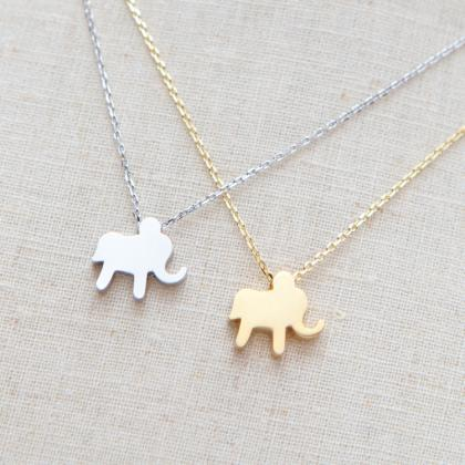 Gold Lucky Elephant Necklace In Gol..