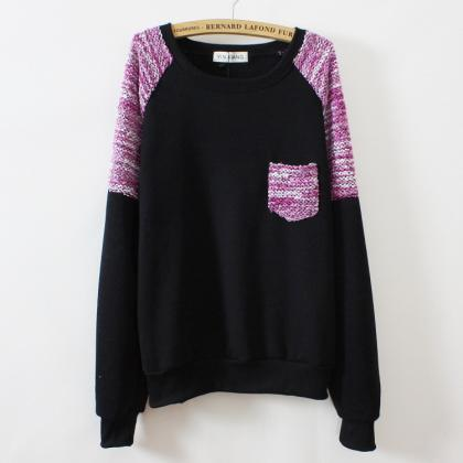 Round Neck Thick Fleece Sweater Ad8..