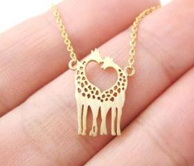 Giraffe Shaped Animal Themed Charm Bracelet Necklace