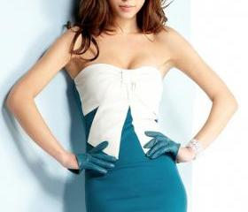 Romantic Bowknot Decoration White & Blue Splicing Micro Fiber Tube Dress
