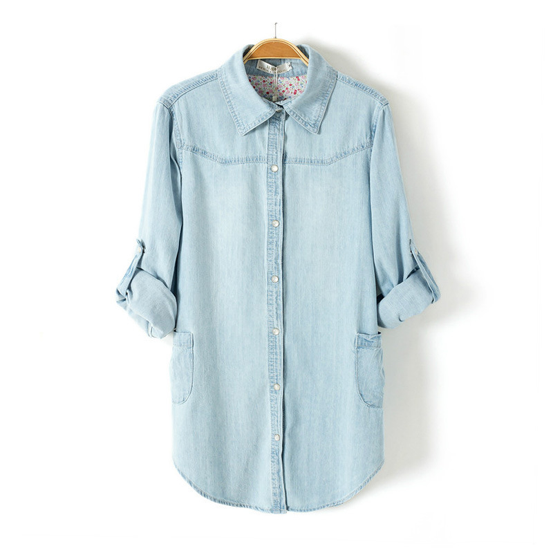 Light Blue Denim Shirt Lapel Long-sleeved Blouse on Luulla