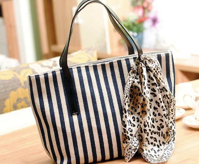 Chic Blue and White Stripes Hand Bag with Scarf