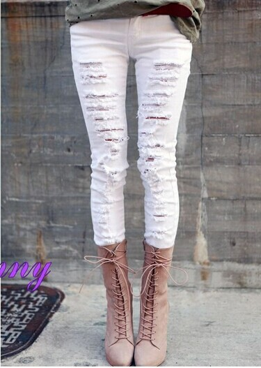 Free Shipping Pierced White Jeans