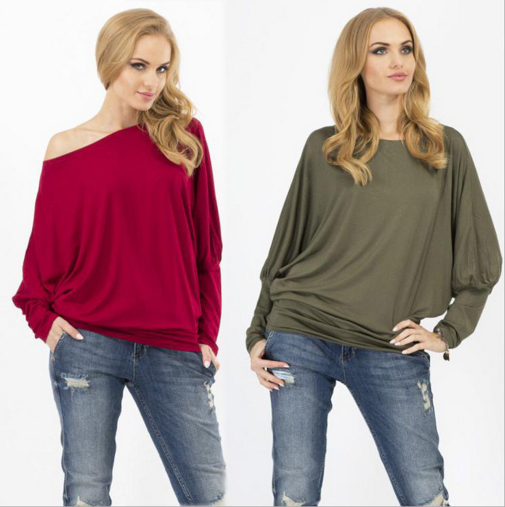 Sexy Bat Sleeve Loose T-Shirts 3625065