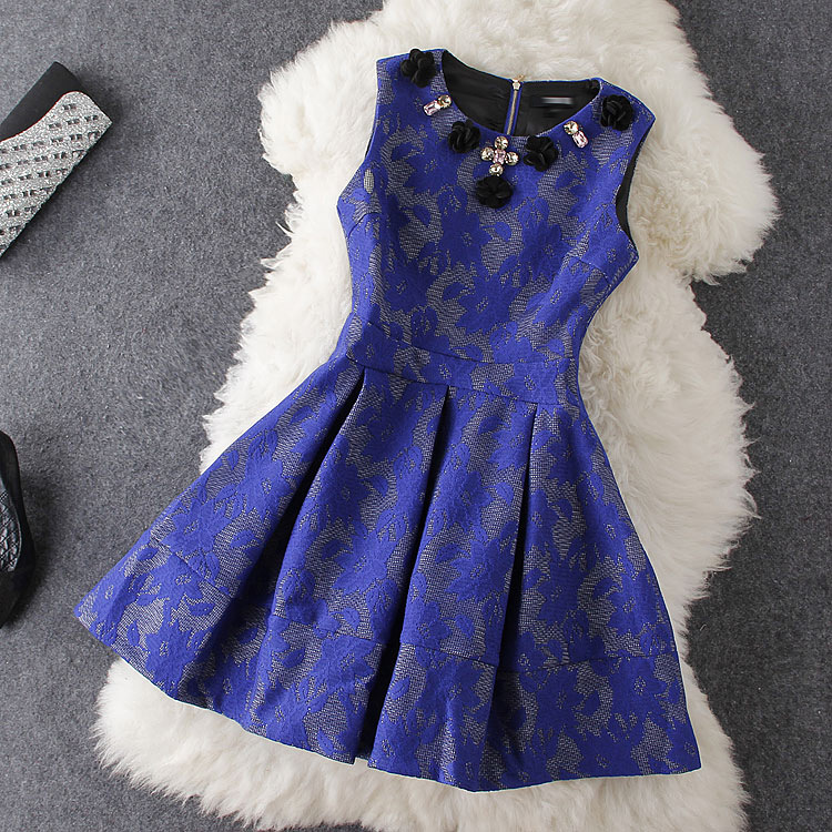 Flowers Blue Embroidered Dress Aw1020Cb