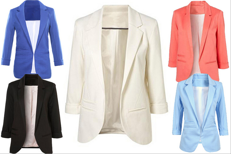 Women'S Fashion Candy Color Slim Buttonless Three Quarter Sleeve Jacket Suit Blazer
