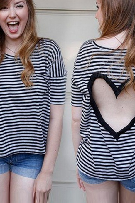 Fashion Heart-Shaped Hollow-Out Striped Shirt 9305216