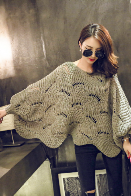 Fashion Hollow Out Bat Sleeve Sweater 6216197