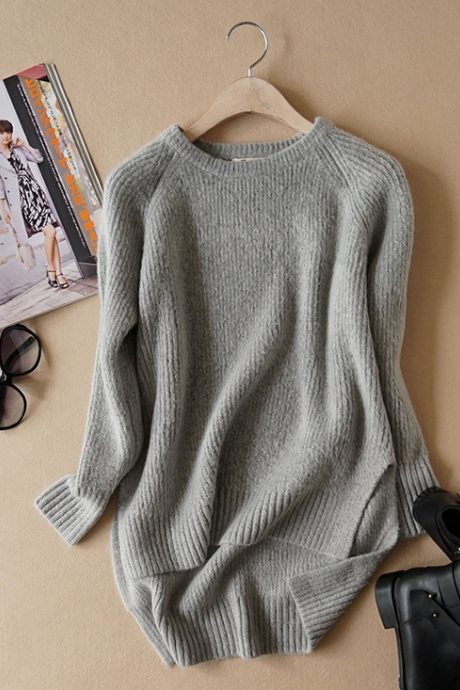 Knit Crew Neck Long Cuffed Sleeves Sweater Featuring High Low Hem and Slits