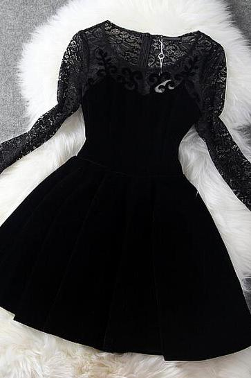 Lace Hollow-Out Long-Sleeved Velvet Dress Bv1011Bj