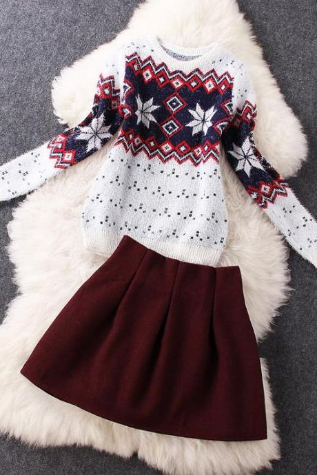 Snowflake Sweater Woolen Red Skirt ( Two-Piece ) Bn1112Bc