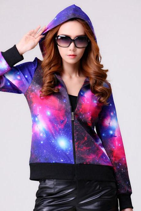 Star Printed Zipper Hooded Sweater Coat Kn0116Cb
