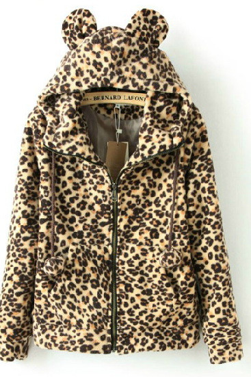 Sweet And Lovely Coral Velvet Long-Sleeved Leopard Ears Jacket