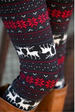Fashion Christmas Deer Print Knitting Leggings