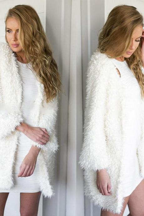Sexy Womens Fluffy Shaggy Faux Fur Warm Cape Coat Jacket Winter Outwear Cardigan