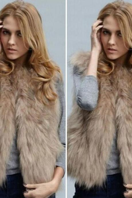 Women Faux Fur Shaggy Warm Vest Gilet Sleeveless Jacket Coat Outerwear Waistcoat