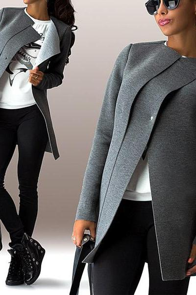 Fashion Long Sleeves Single-Breasted Grey Polyester Long Wool Coat