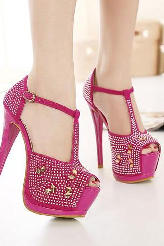 Fashion Rhinestone Embellished Platform Stiletto Super High Heel Pu T-Strap Sandals