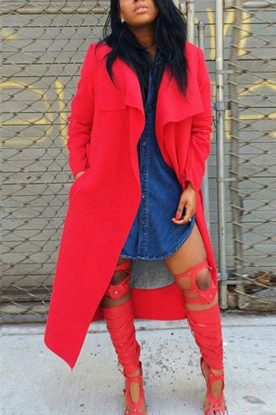 Fashion Turndown Collar Long Sleeves Red Long Trench Coat