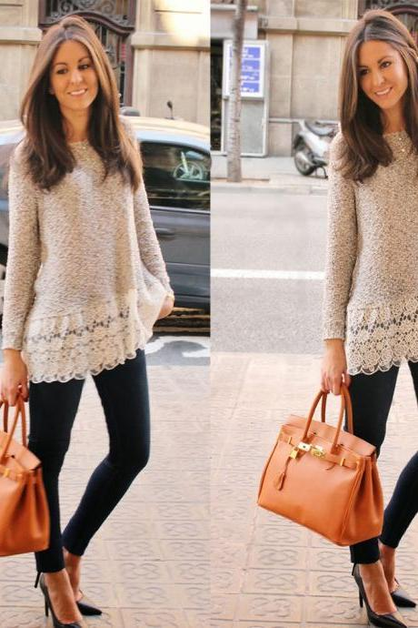 New Jump Long Sleeve Lace Blouse Women Loose T Shirt Sweater Tops Pullover