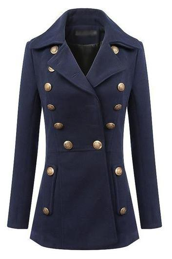 Pocket Design Double Breasted Navy Blue Coat