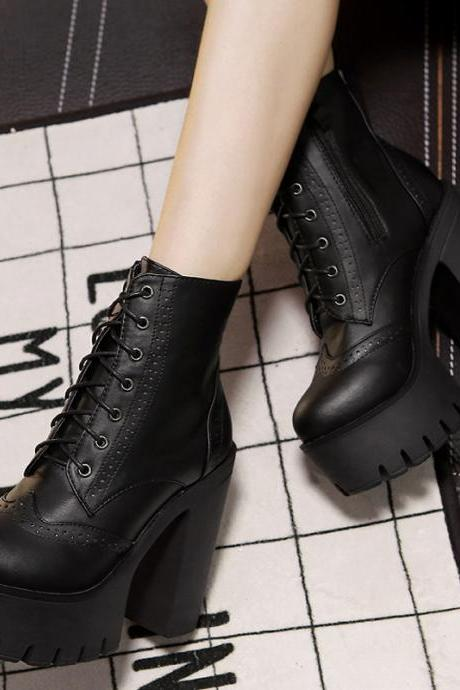 Spring Autumn Round Toe Lace-Up Chunky Super High Heel Black Pu Short Martens Boots