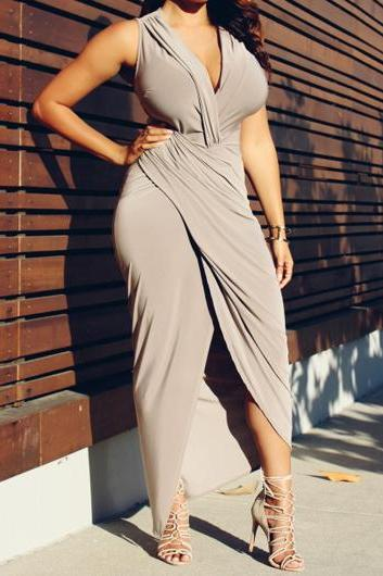 V Neck Sleeveless Grey Wrap Dress