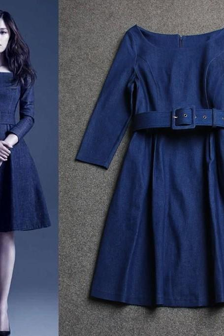 Women New Slim Fit Denim Jean Dress Cocktail Belt Long Sleeve Shirt Dress