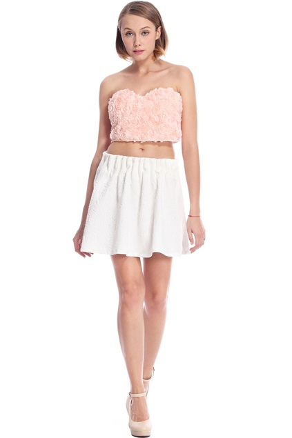 Faux Roses Embellished Pink Bandeau Tops Bustiers