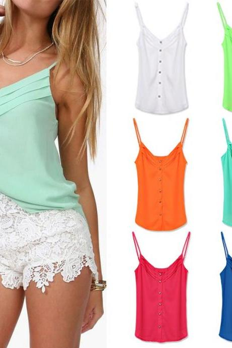 S-Xxxl Candy Color Shirts Sexy Chiffon Spagetti Strap Vest Top