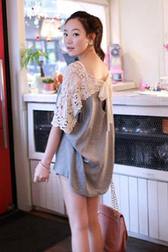 Sweet Lace Blouse Gray Bow Shirt