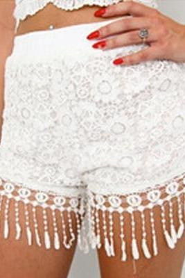 Women'S Flower White Lace Shorts