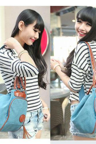 Canvas Tassel Pendant Shoulder Bag Dumplings Backpack