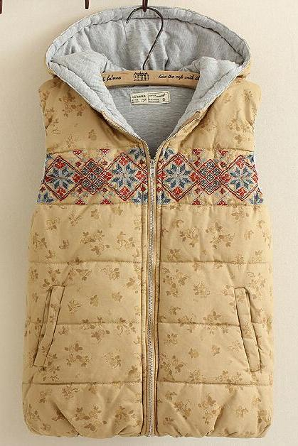 Embroidered Cotton Hooded Vest Pl1107J