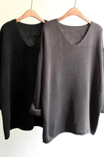 Hedging Loose V-Neck Sweater Qq1208Bf