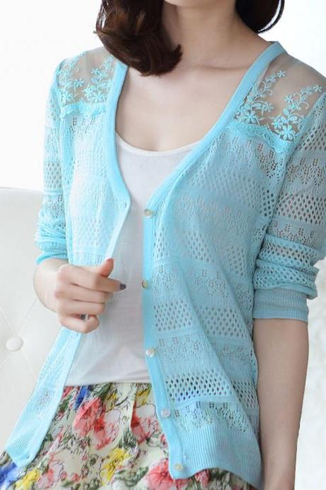 Openwork Knit V-Neck Cardigan Zx1014Bc