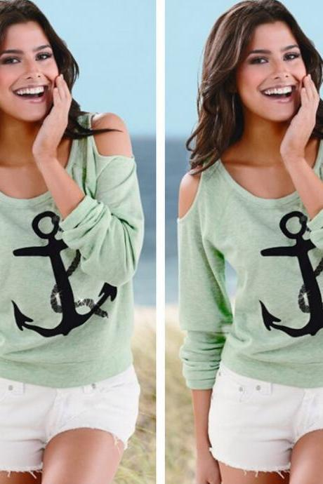 Sexy Printed Anchor Round Neck T-Shirt 1458640