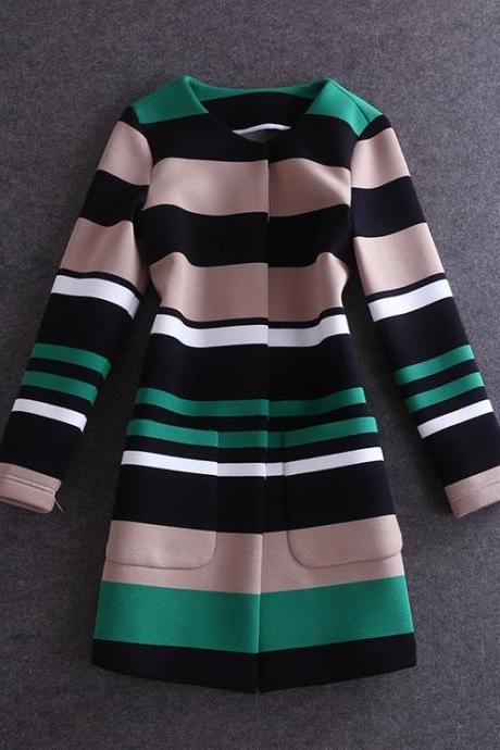 Space Cotton Striped Long-Sleeved Windbreaker Coat Ae1204Ch
