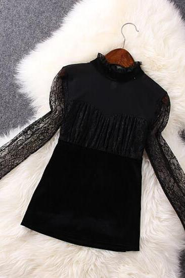 Suede Lace Stitching Long-Sleeved Dress Ae1204Da