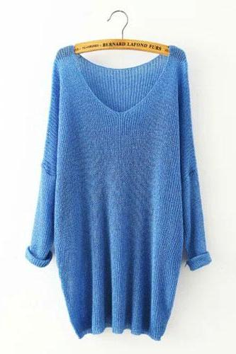 V-Neck Irregular Hem Raglan Dolman Sleeve Long Sweater