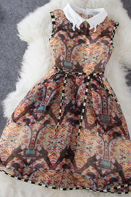 Geometric Print Vest Dress Dress Xq62812