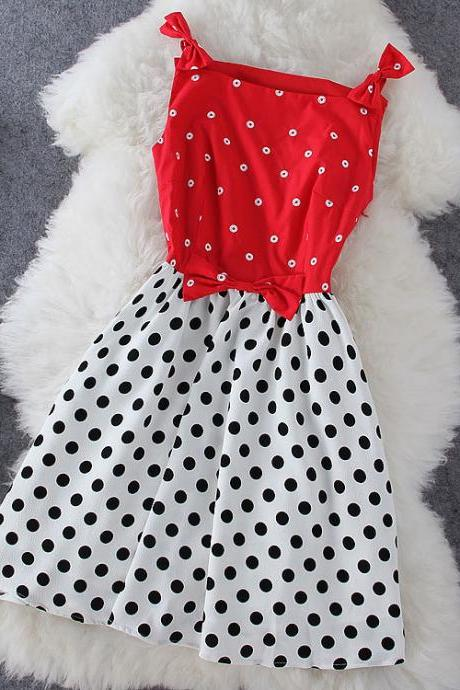 Red Bow Polka Dot Dress J707Be