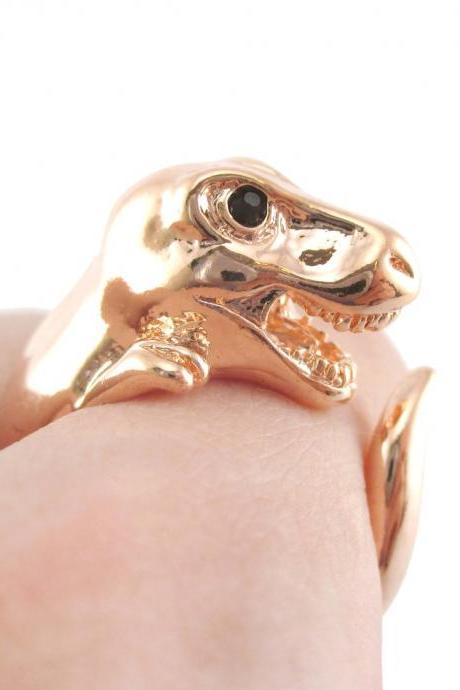 Large 3D Dinosaur Animal Wrap Around Hug Ring In Shiny Copper | Sizes 4 - 9
